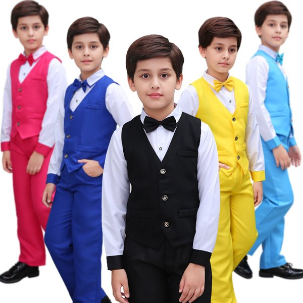 Flowers Children Boys Formal Wedding School Dress Gentleman Clothing Sets Ceremony Dance Costumes Suits For Teenagers Boys New CJ191209