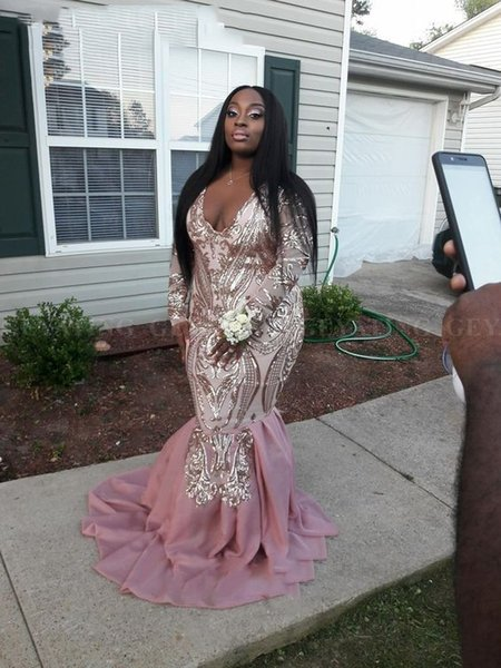 Rose Gold Pink Sequin Plus Size Mermaid African Prom Dresses 2019 Sexy V-Neck Long Sleeves Chiffon Formal Gala Dress for Women Prom Gowns