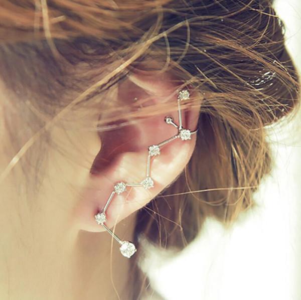 1pcs Women Elegant Simple 7 Diamond Inlay Silver Crystal Earrings Ear Hook Stud Gift