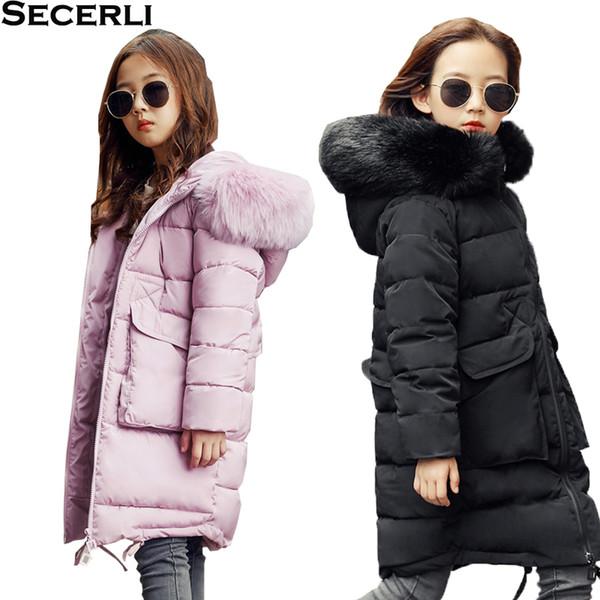 New Winter Kids Girls Long Jacket Fur Hooded Children's Girl Winter Coat Cotton Padded 3 to 13years Teenage Outwear Parkas