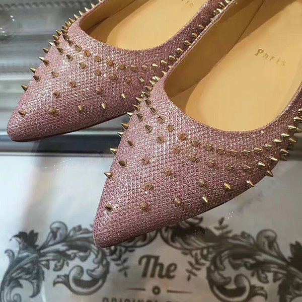2019 Sexy Red Bottom Escarpic Flat With Spikes Pointed Toe Ballerinas Shoes For Women Gold,Pink Fishnet Glitter Leather Walking EU35-42