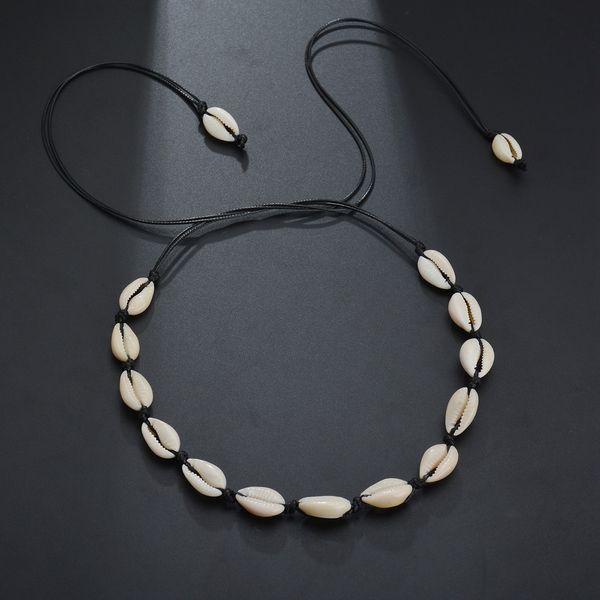 Handmade Hawaii Bohemia Love Shell Rope Chokers Necklace Silver Gold Beach Shell Fashionable Jewelry For Women