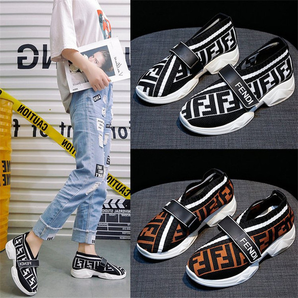 Fends Marka Kadın Çorap Sneakers Ayakkabı F Harfleri Tasarımcı Çorap Sneaker Kısa Ayak Bileği Çizmeler Düz Alt Örgü Çorap Ayakkabı Hız Eğitmeni Yeni B81405