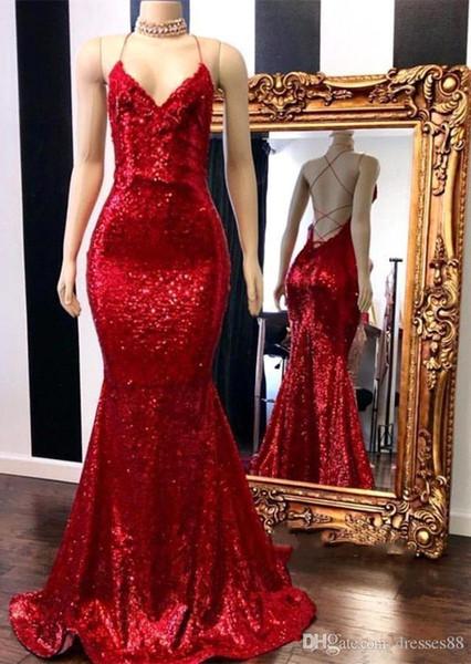 Venta caliente Shinning lentejuelas sirena roja vestidos de noche sexy Criss Cross sin espalda fiesta formal larga vestidos de baile vestidos de celebridades
