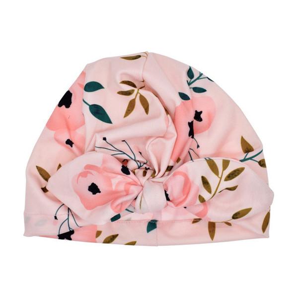 Newborn Baby Boy Girl Fashion Sun Hat Floral Bowknot Cap Toddler Turban Photo Props Cute Kids Lovely Print Hat 2019 Hot