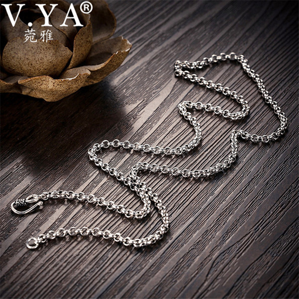 V.ya 925 Sterling Silver 3/4/5mm Link Chain Necklace Men 18-24inch Chains Fit Pendants Pure Thai Silver Punk Black Jewelry J190616