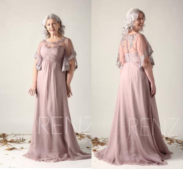 Vestido de novia de gasa con apliques de color gris rosa Apliques Vestido de novia con encaje Ilusión Amor Maxi Vestido formal de fiesta de graduación
