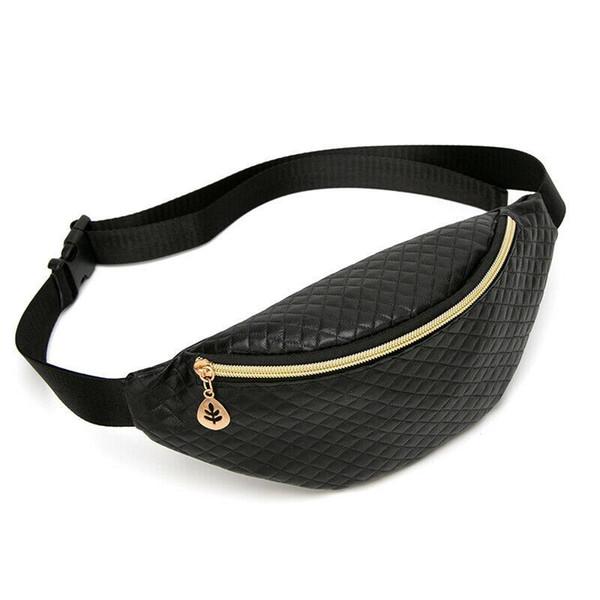 Donne Bum regolabile Hip Belt Bag pacchetto di Fanny custodia da viaggio in pelle borsa Festival Vita Denaro Cintura vacanze Portafoglio Black Gold