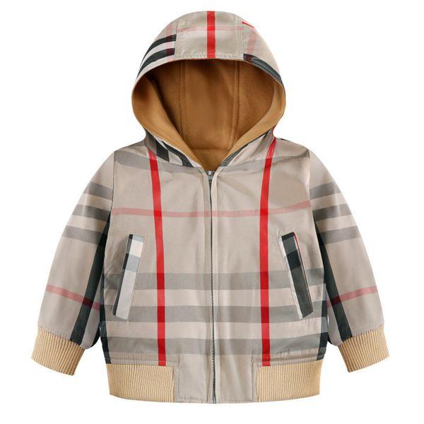 Niños de 4-8 años a cuadros chaqueta informal niños a prueba de viento caliente de los niños del uniforme escolar respirable impermeable a prueba de viento de la chaqueta con capucha