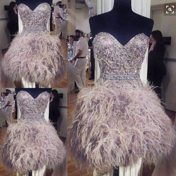 Muhteşem Tüy Gelinlik Modelleri Boncuk Sevgiliye Kısa Abiye giyim Lace Up Geri Diz Boyu Kokteyl Parti Elbise Custom Made