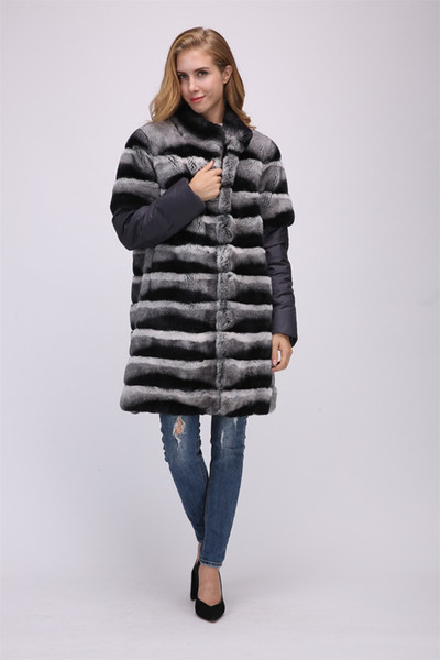 lady women real rex rabbit fur chinchilla color long coat with down sleeve vest detachable gilet outwear fluffy furry winter womens