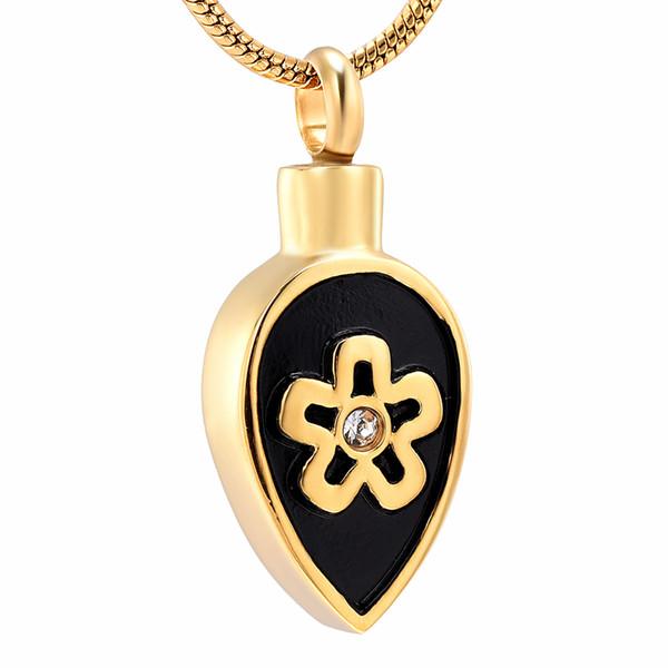 IJD10733 En acier inoxydable or et noir fleur ronde pendentif de crémation pour cendres urne souvenir souvenir collier support souvenirs bijoux