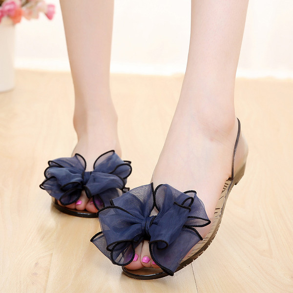 Discount Summer 2019 Women Sandals Pvc Flats Fashion Sweet Casual Flower Bow Crystal Shoes Fish Mouth Jelly Shoes Beach