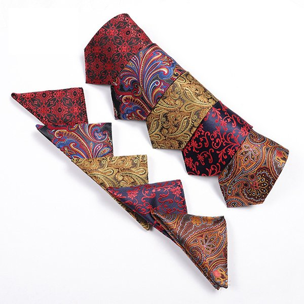 Men Business Tie Hanky Set Neck Tie Handkerchiefs Set Wedding Party Fashion Accessories Silk Handmade Hanky WWA233