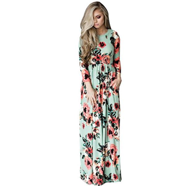 Roupas femininas Plus Size Maternidade Vestido Impresso Vestidos Para Mulheres Grávidas Floral Longo Solto Maxi Vestido Boho S-3XL NOVO