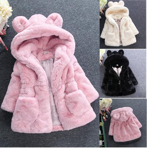 top popular 2018 New Winter Baby Girls Clothes Faux Fur Fleece Coat Pageant Warm Jacket Xmas Snowsuit 1-8Y Baby Hooded Jacket Outerwear 2021