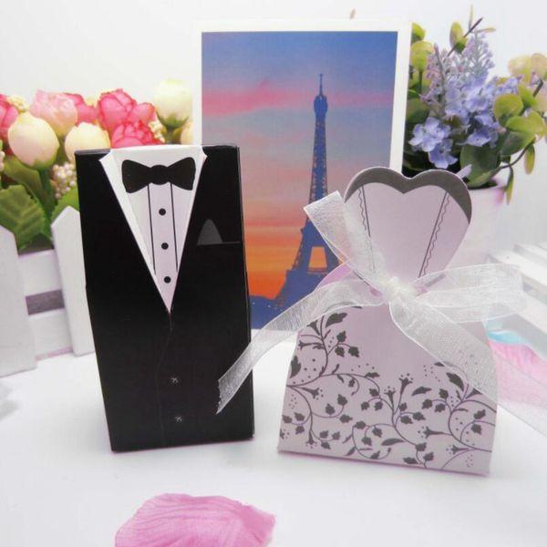 Kreative Geschenkbox Streifen Smoking Kleid Bräutigam Braut Candy Mit Band Für Hochzeit Dekoration Pralinenschachtel SSA196