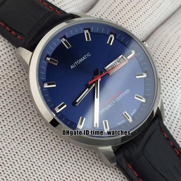 YENI Komutanı M021.431.11.041.00 Miyota Otomatik erkek izle 41mm Mavi dial yüksek kalite Gents popüler Saatler Deri kayış 7 renkler