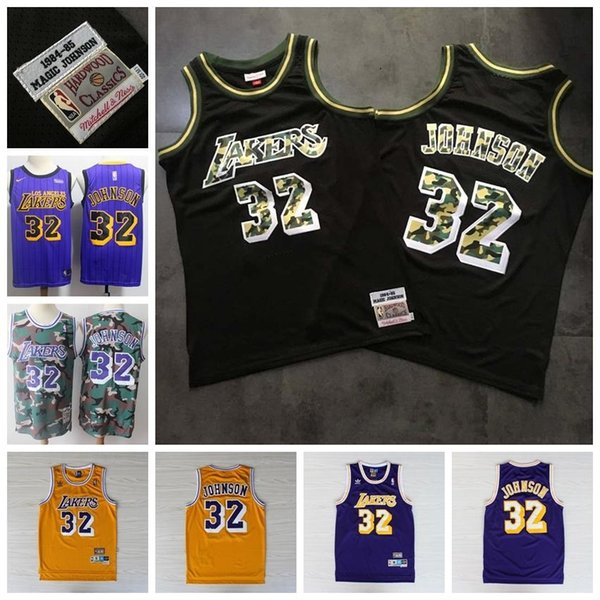 08 Retro Mitchell & Ness Classic #32 Earvin Johnson Basketball Jersey Stitched Embroidery Mesh Retro Los AngelesLakers Basketball Shirt