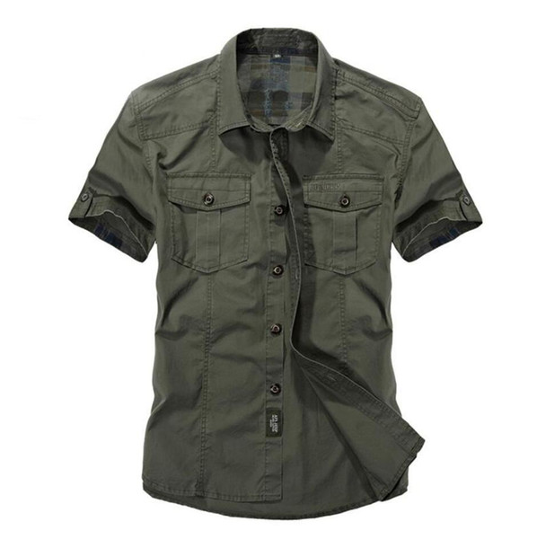 Casual dress shirt men slim fit style army green male for boys khaki mens short sleeve cotton designer Breathable Brand