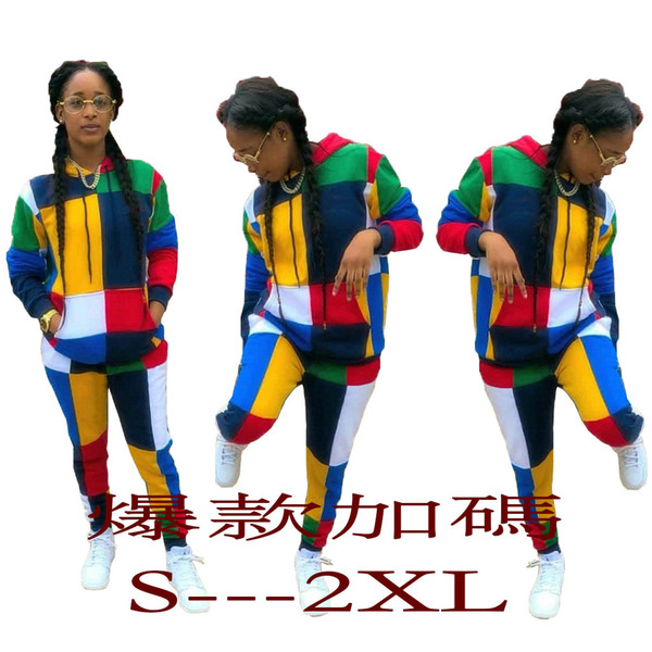 Ensemble de Sweat à capuche Femme Imprimé Couleur Couture Accessoires en métal Pantalon à manches longues en deux pièces
