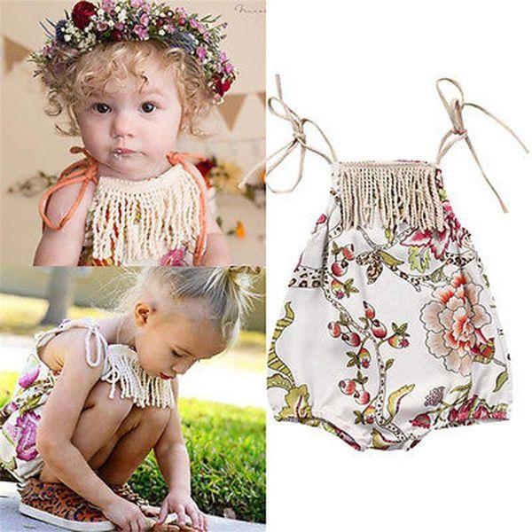 Bebek kızlar çiçek parantez romper püskül çiçek romper bebekler tırmanma giysi sevimli yaz kıyafetler 0-2 T için 2 renkler