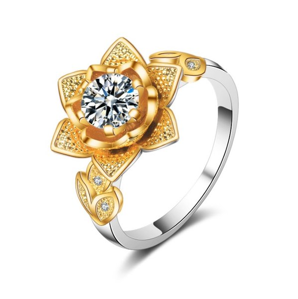 Simple and Versatile Ring European and American Classic Color Flower Copper Plated Ring Exquisite Temperament Female Accessories