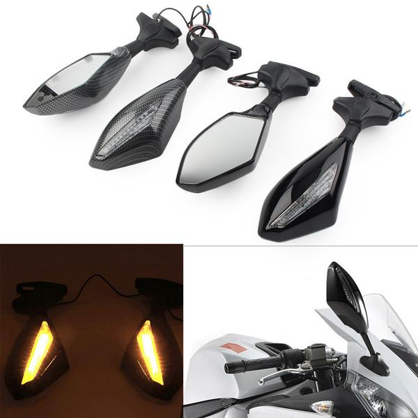 2Pcs мотоцикла Зеркала заднего вида Монтаж ж / LED поворотник для Suzuki Yamaha YZF R6S и т.д.