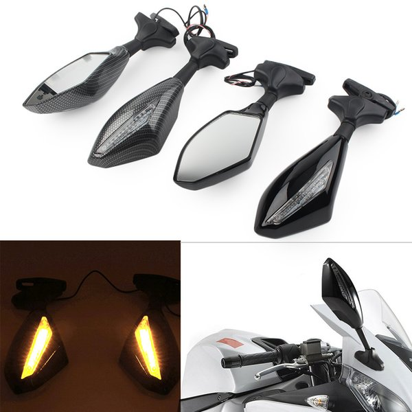 2pcs de la motocicleta retrovisor Asamblea Espejos w / vuelta del LED de señal para Suzuki Yamaha YZF R6S etc.