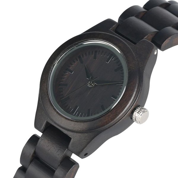 Comfortable Natural Whole Ebony Quartz Analog Women Wooden Watch Handmade Engraved Eco-Friendly Wood Strap Wrist Watches