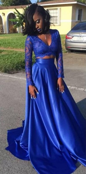 Sexy Fashion Royal Blue African Prom Evening Dress Formal Gowns Lace Illusion Long Sleeves Satin Two Pieces Cheap Pageant Celebrity Dress