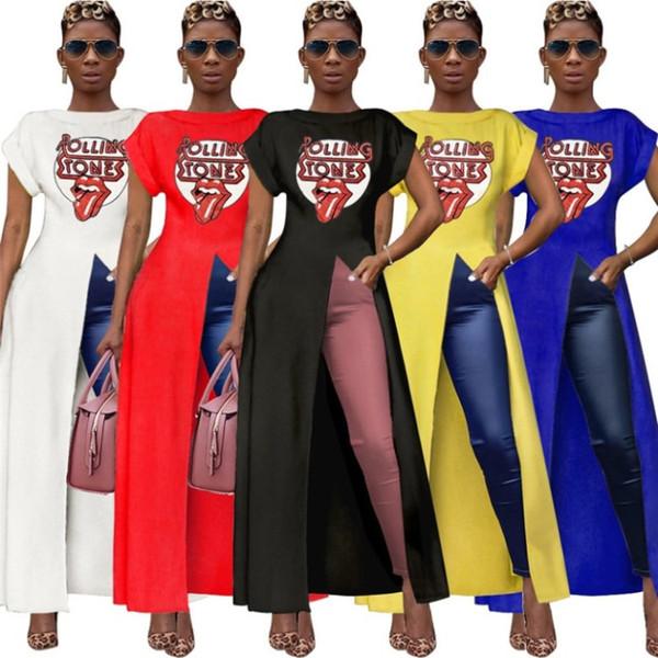 Mulheres camiseta longa sexy dividir tees one piece dress saia moda o-pescoço pullover plus dress mulheres casuais roupas klw2106