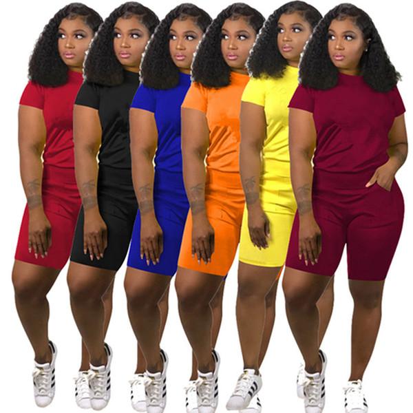 Marca Designer mulheres jogger terno T-shirt shorts DOIS conjunto de peça de treino tshirt sportswear roupas roupas de verão plus size 3XL 420