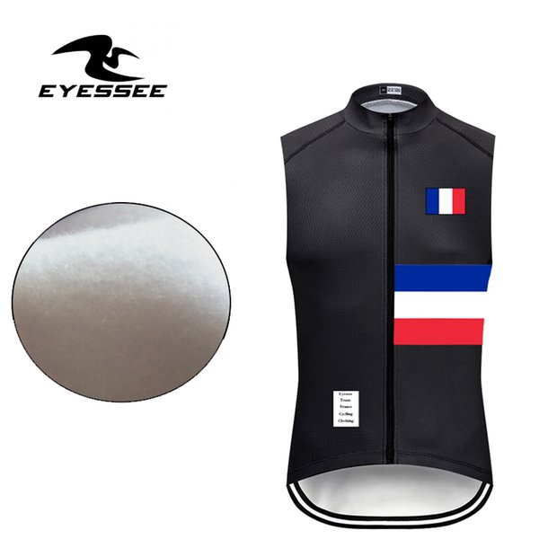 Eyessee 2019 Warm Fleece France Cycling Vest PRO Men Team Warm sleeveless Clothing Winter Thermal Fleece Bicycle Clothing