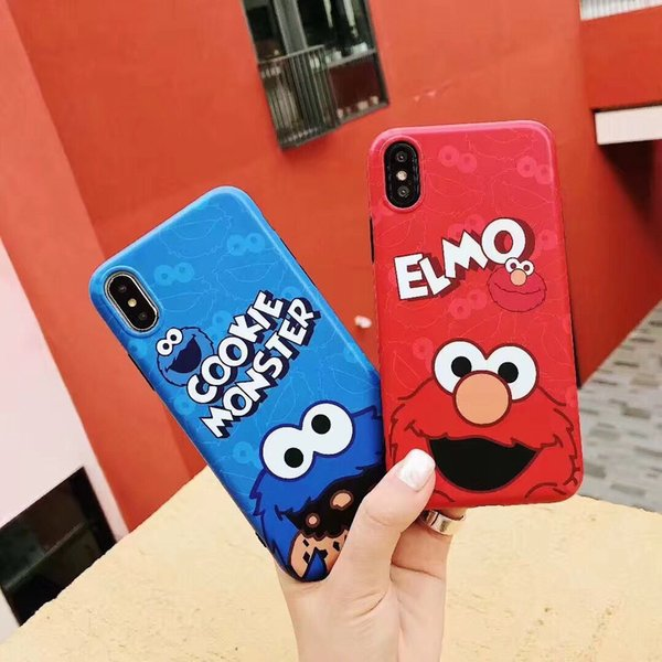 Yunrt Luxury Sesame Street Cute Cartoon Cookie Elmo Phone Case For Iphone 7 8 6 6s Plus X Xs Max Xr Soft Silicone Imd Back Cover Coque Custom Leather