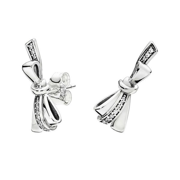 fe1c51acd8462 2019 Women'S Luxury CZ Diamond Bow Earrings Original Box For Pandora 925  Sterling Silver Bowknot Stud Earring Girl Gift Jewelry From Diyakor, $11.46  | ...