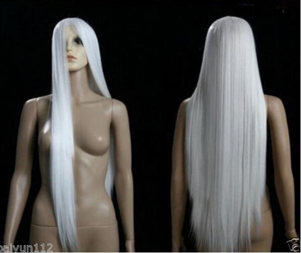 ÜCRETSİZ YÜKLEME ++ HOT! Seksi Anime Cosplay Uzun Parti Beyaz Saç Peruk