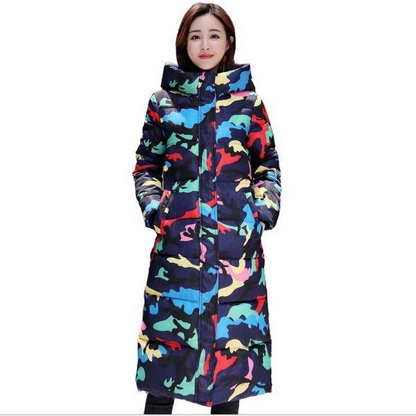 VXO 2019 Women Winter Jacket Long Camouflage Padded Hooded Snow Wear Womens Coat Warm Thicken Female Parka Outwear