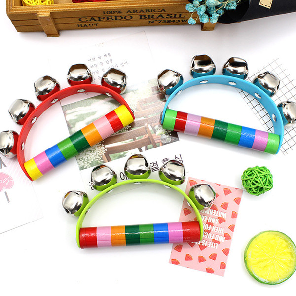 Random color Cute Wooden Rattle Colorful Cartoon Clown Musical Bell Shake Toys Toddler Kids Rattle Toy Bebes Baby Birthday Gifts