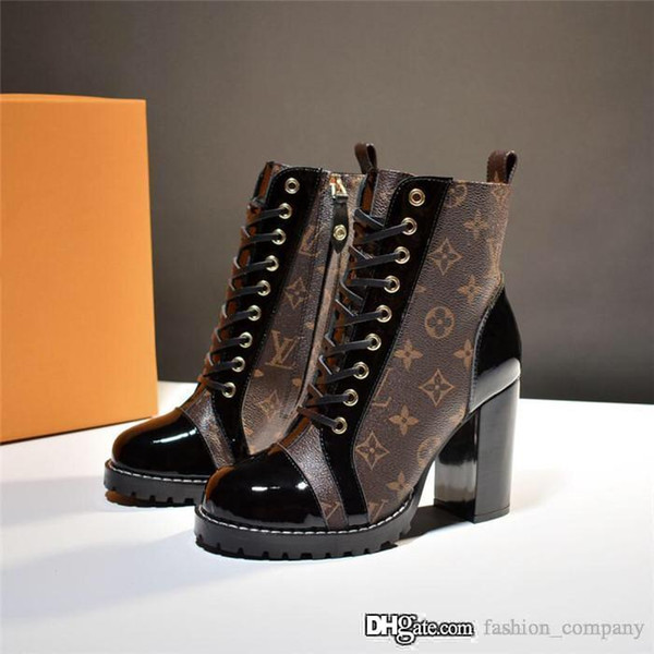 Latest Star Trail Women Ankle Boot. High Heel Booties with Black Calf Leather Laces and Rugged Platform Sole for Winter with Box