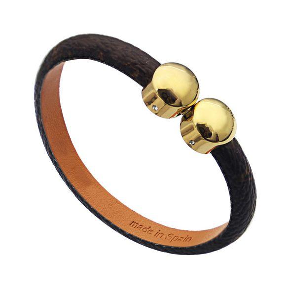 top popular luxury jewelry women leather designer braceltes with ROUND BUCKLE brand logo high-end elegant four leaf flowers pattern couple bracelet 2021