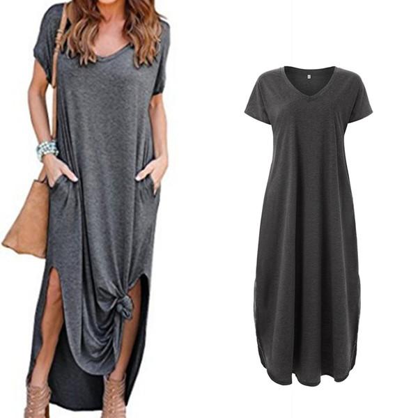 Compre Vestido Largo De Las Mujeres Vestidos Largos Casual Summer Plus Size Mujer Sundress 2019 Nueva Moda De Algodón De Gran Tamaño Vestido A 2314