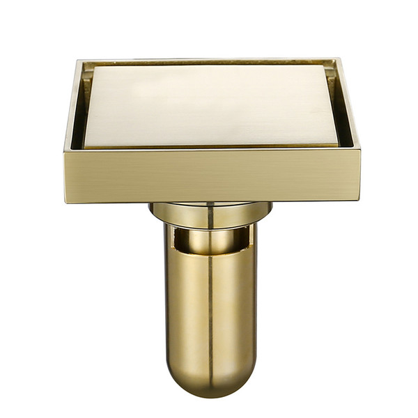 top popular Brass Tile Insert Square Floor Waste Grates Bathroom Shower Drain Floor Drain Brushed Gold Fltro Ducha Drain Hair Invisible 2021