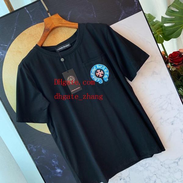2019 femmes marque mode T-Shirts Noir sauvage slim slim T-shirt de poche imprimée T-shirts femme top qualité été vêtements femmes BC-7