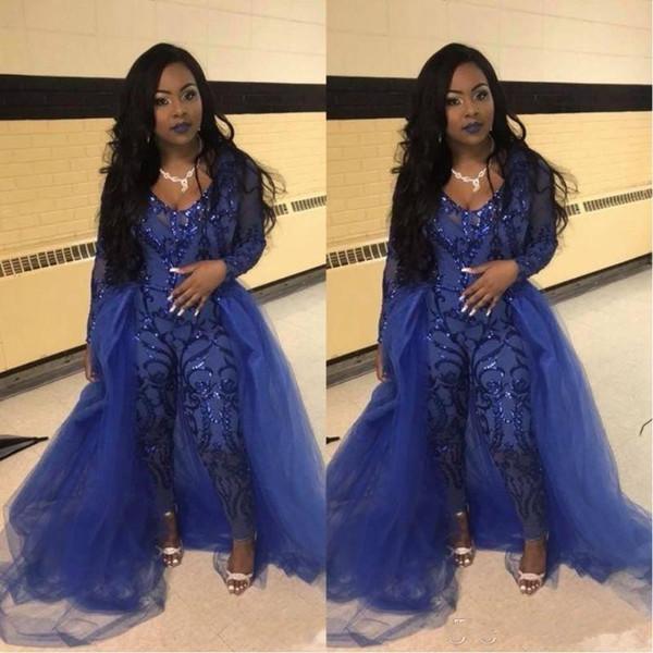 sunnybridal01 / Royal Blue Jumpsuit Prom Vestidos Com Superiores V Neck Manga Longa de Lantejoulas Vestidos de Noite Plus Size Africano Pageant Calças Desgaste Do P