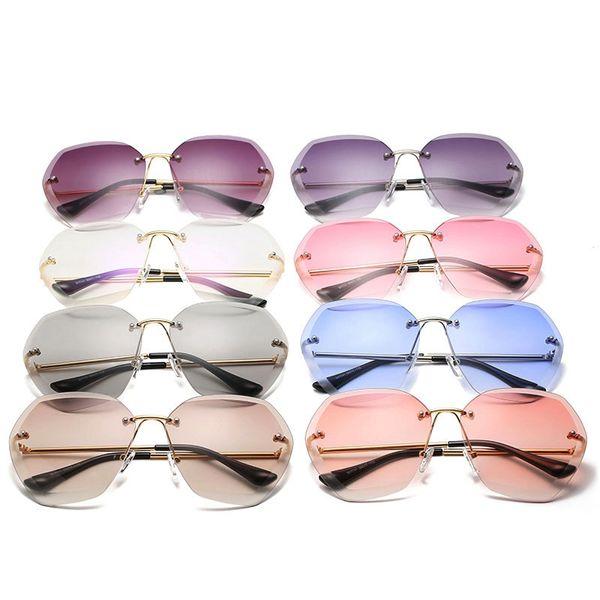النساء بدون شريحة المحيط نظارات معدنية الإطار قطع المحيط ملون عدسة النظارات مضلع مرآة ظلال LJJT1012