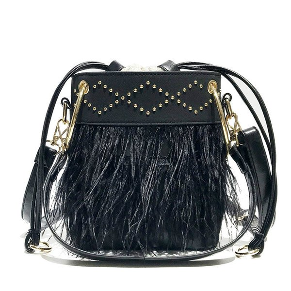 2019 Fashion New Sweet Ladies Bucket Bag Quality Matte Pu Leather Women's Designer Handbag Feather Tote Shoulder Messenger Bag