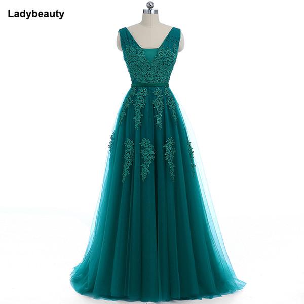 venta al por mayor 2018 elegante largo vestido de dama de honor apliques abalorios con cuello en V vestido de fiesta de boda debajo
