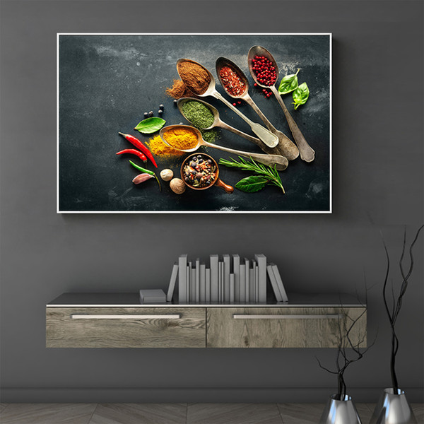 2019 Modern Kitchen Wall Art Canvas Painting Seasoning Picture Print On  Canvas Posters And Prints Wall Pictures For Dining Room Decor From  Georgely, ...
