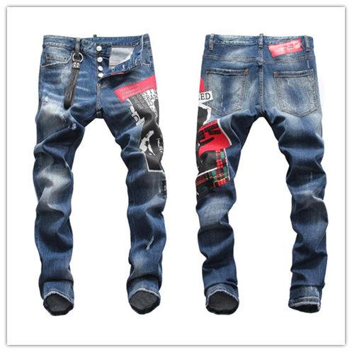 Famous Italy Brand Rock Biker Jeans Men Ripped Denim Tearing Jeans D2 Trousers Skinny Mens Jeans For Men Cheap Pants Ruched Jean Hot style
